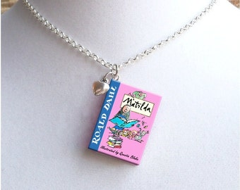 Matilda with Tiny Heart Charm - Miniature Book Necklace