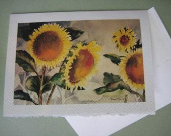 Sunflowers Note Card Watercolor print 5x7 Greeting Card yellow  sunshine  greeting card handmade