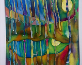 Art, Painting, Silk, Fiber Art, Full Moon, Colbalt Blues,Picasso's Moon. Wall Art, 29x29inches, Framed