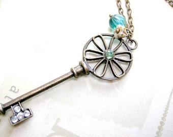 Flower key necklace gift for her-Skeleton key jewelry-Vintage key to my heart-Anniversary gift for wife