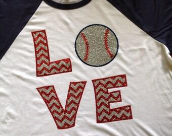 Chevron glitter love baseball