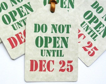 Christmas Gift Tags - Do Not Open Handmade Tags -  Set of 10 Double Layer Tags - Stencil Style