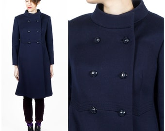 Vintage 1970s Dark Navy Blue Wool A-Line Double Breasted Pea Coat with High Collar by del mod International | Small/Medium