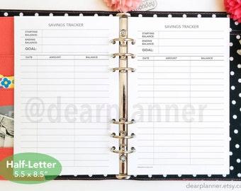PRINTED Savings tracker - Savings planner insert - Monthly financial tracker - Finance planner insert - Half letter A5 insert - 19H