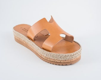 "Espadrilles Wedges -Leather sandals - women's  greek sandals, authentic leather handmade sandals - SS/17 - ""CLIO"""