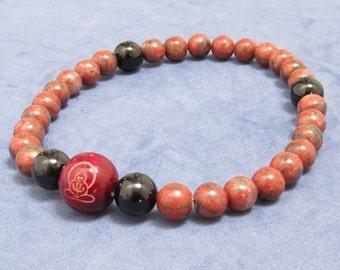 27 Mala Beads Bracelet, Red Jasper Onyx Bracelet, Women, Men's Beaded Bracelet, Prayer Worry Beads, Gift for Yogi, Buddha in Lotus Wood Bead
