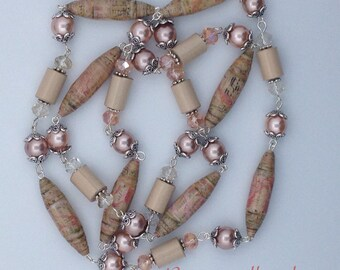 Paper bead necklace, Opera Necklace, Tan and Dusty Rose Beaded Necklace