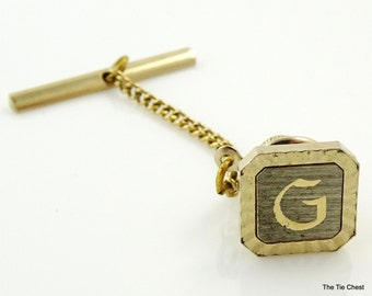 Vintage Letter G Initial Pin Tie Tack Swank Two Tone