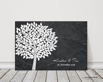 "Wedding Tree fingerprint tree Guestbook Wedding Confirmation ""slate tree"" on canvas"