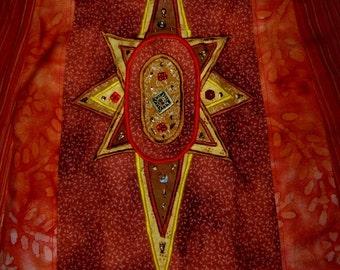 DeviDesigns Patchwork Firey Tribal Beaded Primitive Sun Applique Apron Top or Skirt reversible