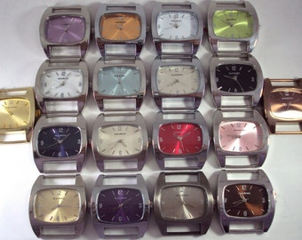 Chunky Squashed.. Oval Ribbon, Solid-Bar, Interchangeable, Silver Plated Watch Face