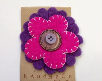 Large Felt flower brooch - cerise and purple