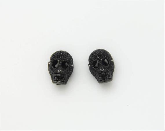 Black CZ Micro Pave 11x18mm  Skull  Beads