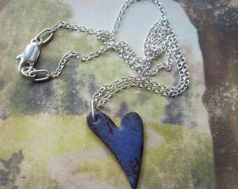 Purple Enameled heart necklace    E505