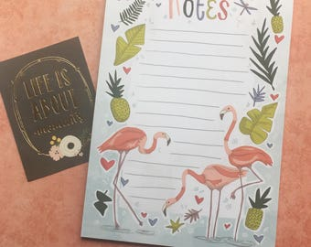 Flamingo A5 Notepad, Notespad, List Pad, Things To Do Note Pad, Desk Pad, Stationery, Paper Pad, To Do List Notepad, Desk Pad, To Do List