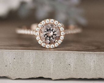 6mm Round Morganite Engagement Ring,Rose Gold Engagement Ring, Promise Ring, Diamond Wedding Band, Half Eternity Band 14k Rose Gold