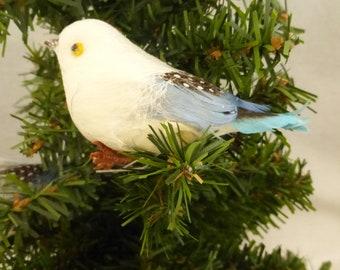 Vintage Small Blue and White Spun Cotton and Feather Bird NOS
