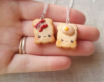 BFF Bacon and eggs necklace, friendship keychain, friendship necklace, food keychain, miniature food jewelry, best friend keychain