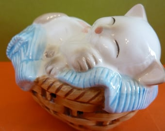 Avon Pomander, Basket of Laundry w / Cat Napping, Circa 1983,