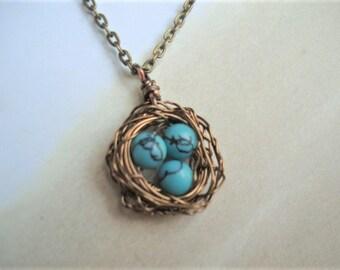Bird Nest Necklace Mothers Day Necklace Turquoise Necklace Nest Jewelry Mom Necklace Birdnest Jewelry