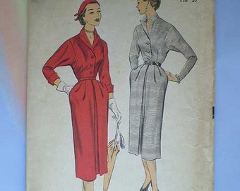 Vintage 50s Dolman Sleeve Slim Dress Unused Pattern 34
