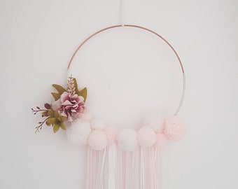 Handmade Pompom & Floral Wall Hanging Dream catcher, Nursery, Bedrooms, Baby Shower, Weddings