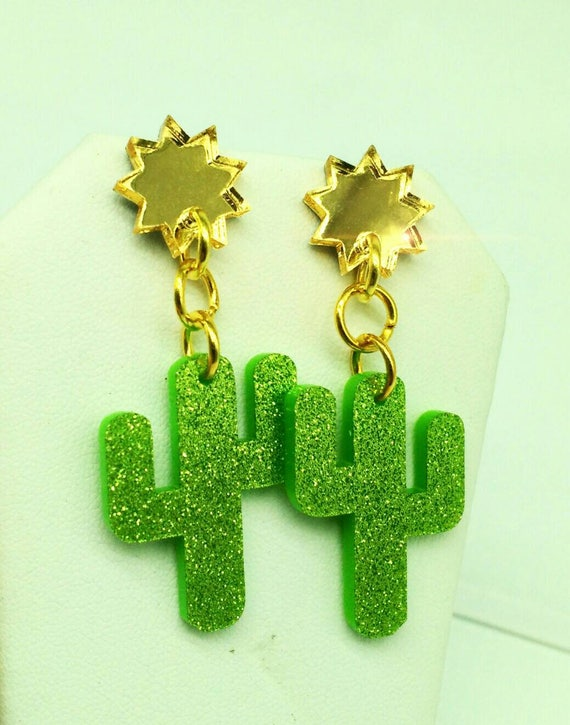 Sunny Saguaros- Laser Cut Acrylic Lime Green Glitter Gold Mirror Gold Findings Stud/Post dangle earrings