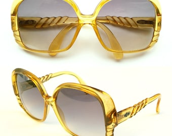 Vintage Christian Dior 2064 Oversize  Women Sunglasses Yellow Gold Optyl Frames Germany 80s Cd