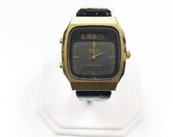c713 Vintage Seiko Digital/ Analog Dual Time Quartz Watch 1980's