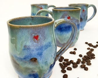 Reserved- Large size Hearts Imprinted Stoneware Mug - Made to order