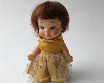 Vintage Flower Time Uneeda Pee Wee doll, 1965 Uneeda Pee wee doll, Pocket Pee Wee doll, Flower Time Pee Wee, yellow Uneeda Pee Wee, 60s doll