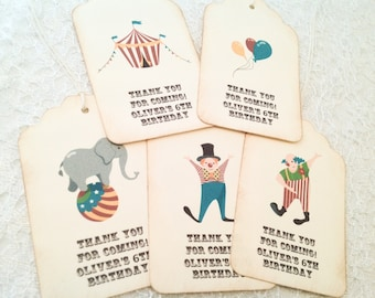 Thank You Favor Tags-Circus Party Favors Treats Thank you tags-Set of 12