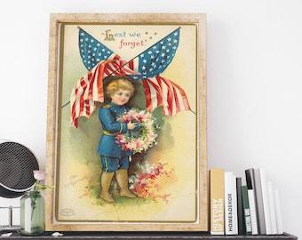 Lest We Forget Postcard 1908 by Ellen Clapsaddle Vintage USA Clip Art Poster Art Print