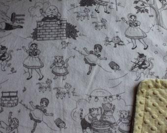 Minky Blanket - Nursery Rhymes Minky with Yellow Dimple Dot Minky Backing - stylish baby blanket