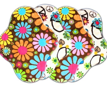 "9.5"" Medium Flow Reusable Cloth Pad Set of Four ~ Flower Power and Groovy Minky ~ by Talulah Bean"