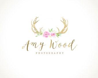 Logo Design Branding Package Premade Graphics Custom Text Gold Foil Pink Roses Floral Deer Antler