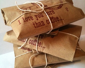 """Mother's Day Gift Idea // Valentines Day Gift Idea. Coffee Gift Set of 3. Freshly roasted """"I Love You More Than Coffee"""" Gift for Her."""