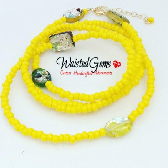 Lemon aid Waist Beads, Yellow Waist Beads, WaistBeads, Waist Chain, Belly Chain, Yellow Bikini, Gifts for Her, Sale