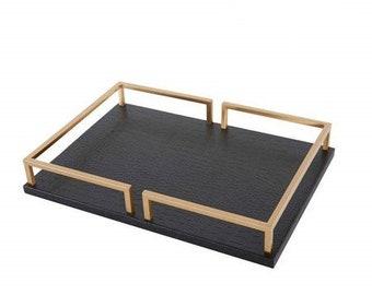"Black Leather Rectangular Decorative Tray 15.7""X11.4""X2"""