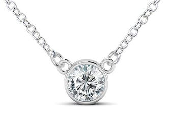 925 Sterling Silver Round Cut CZ Cubic Zirconia Solitaire Pendant Necklace
