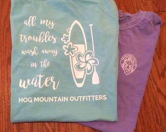 All My Troubles Wash Away in the Water T-shirt - Paddleboard