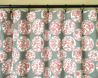 Scarlet Aiko Floral Drapery Panels. Red, Gray Drapery Panels. Pair of Two. Pick a Size. Scarlet. Red Curtains. Custom Window Treatments