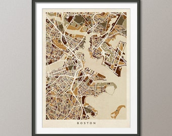 Boston Map, Boston Massachusetts City Street Map, Art Print (1536)