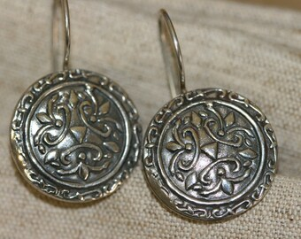 Silver Earring,Sterling Earrings,  Handmade 925 Silver Earrings, Israeli Designer,Everyday Wear Earrings, Silver Flower