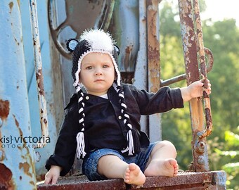 Crochet Skunk Hat with earflaps and ties Newborn-5yr MADE TO ORDER Photography Prop
