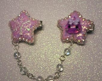 Kawaii purple star hairclip with bead chain