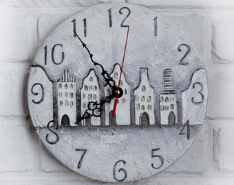 Gray Silver Houses Wall Clock, for Office,hygge decor,  Industrial style