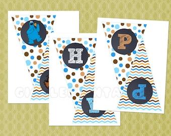 Cookie Monster DIY Printable Happy Birthday Banner - Bunting Banner