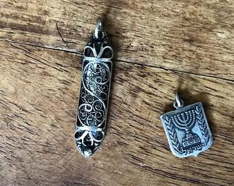 Vintage Mezuzah Pendant Menorah Charm - Sterling Silver Mezuzah - Vintage Judaica Jewelry Made in Israel - Sterling Silver Jewelry