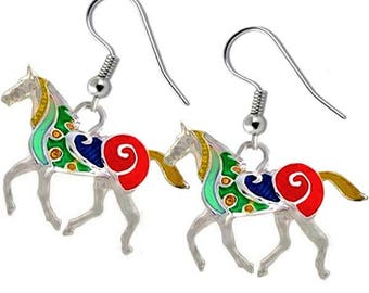 MERZIEs silver HORSE animal pony U PICK ear wires multi color epoxy dangle ~41x22mm earrings - SHIPs from USA
